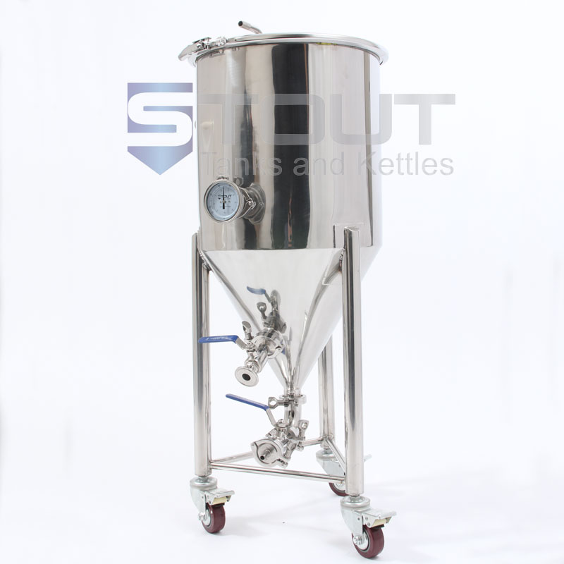 15 Gallon Conical Fermenter with Thermowell, Thermometer and Wheels