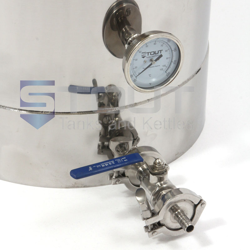 15 Gallon Mash Tun with Thermowell, Thermometer, Recirculating Fitting and Bottom Outlet