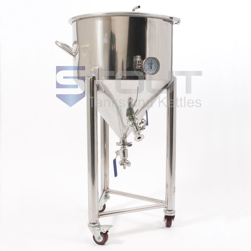20 Gallon Conical Fermenter with Thermowell, Thermometer and Wheels