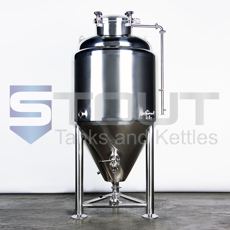 front view of our 3.5 bbl conical fermenter with top manway (8560)