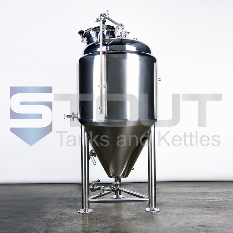 profile view of our 3.5 bbl conical fermenter with top manway (8560)
