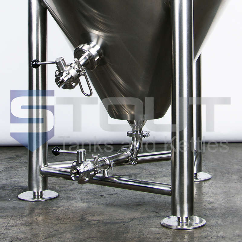 close up of the conical bottom of our our 3.5 bbl conical fermenter with top manway (8560)