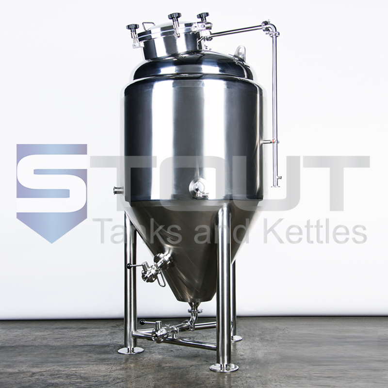 side view of our 3.5 bbl conical fermenter with top manway (8560)