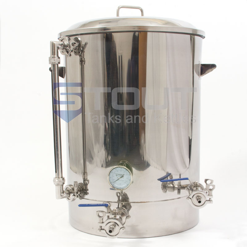 30 Gallon Brew Kettle with a Thermowell, Tangential Inlet and Sight Glass