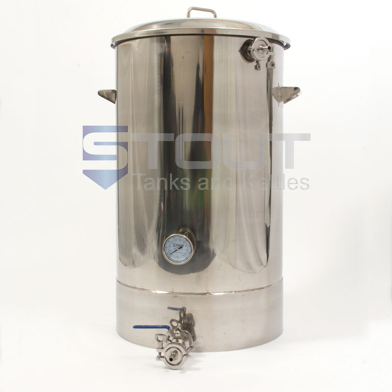 40 Gallon Mash Tun with Thermowell, Thermometer, Recirculating Fitting and Bottom Outlet