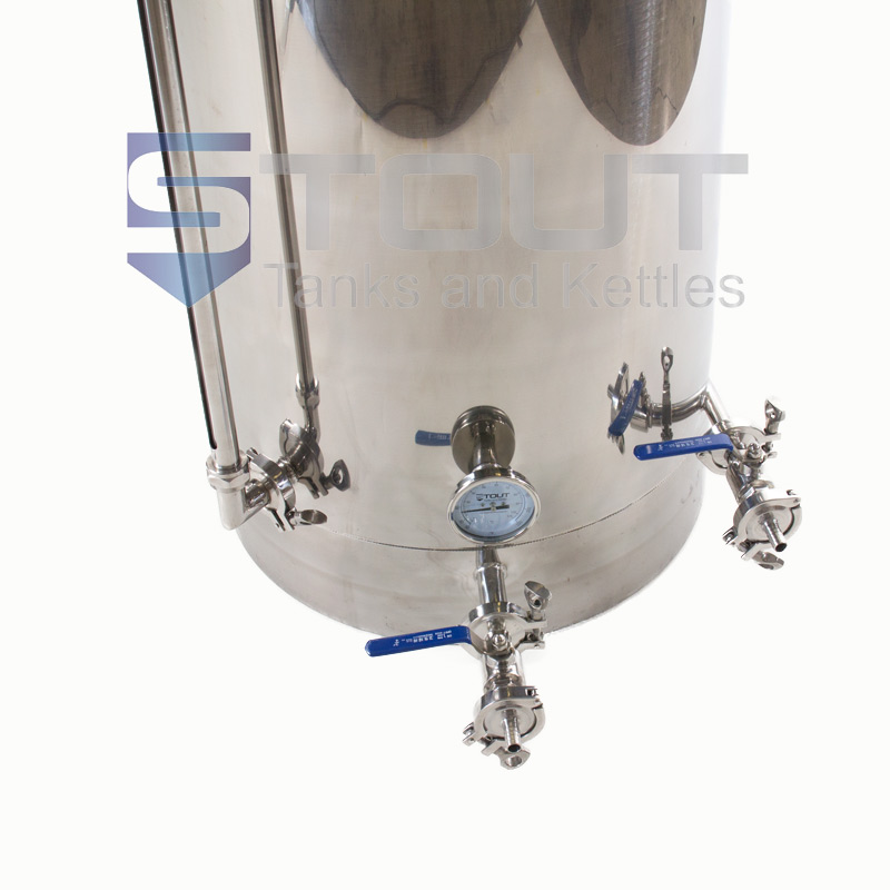 Gallon hot liquor tank with thermowell sight glass