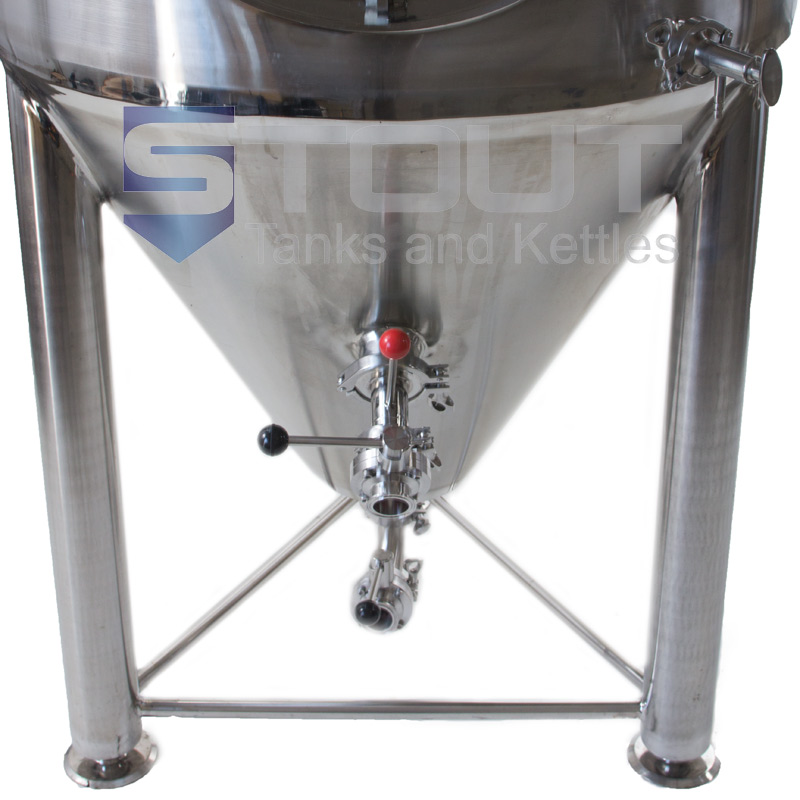 bottom view of our 4 BBL Jacketed Conical Fermenter