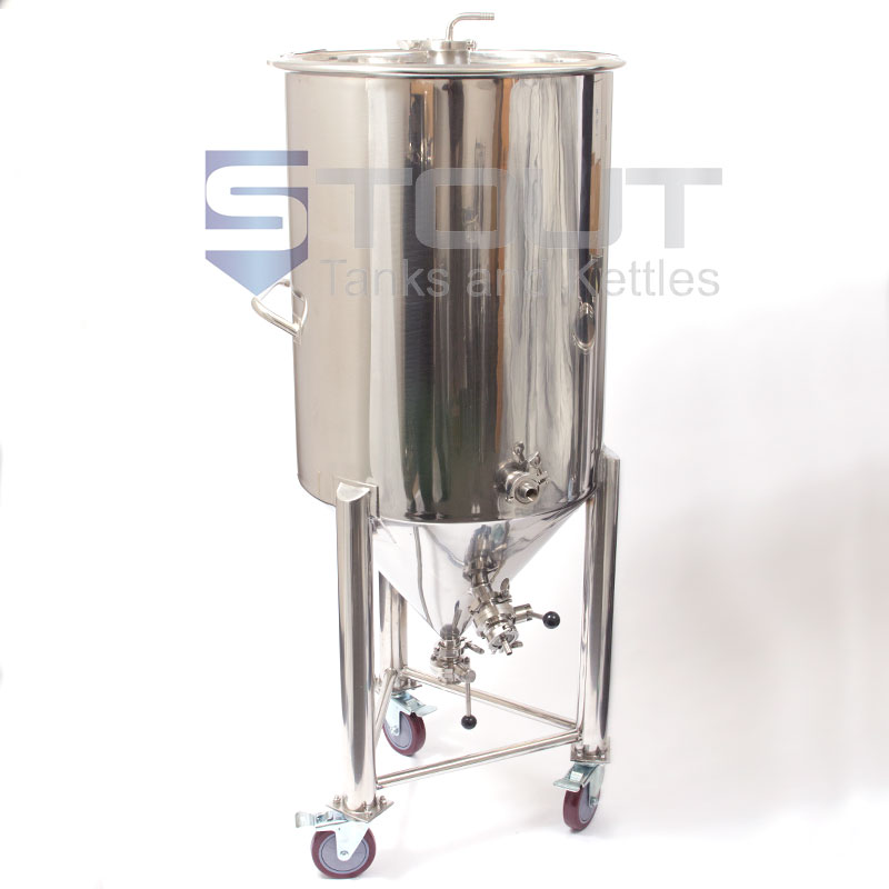 55 gallon Conical Fermenter with wheels and built in cooling coil