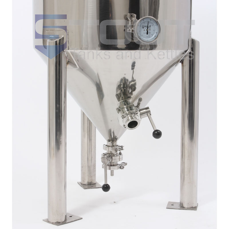 55 Gallon Conical Fermenter with legs and a built in cooling coil - bottom view