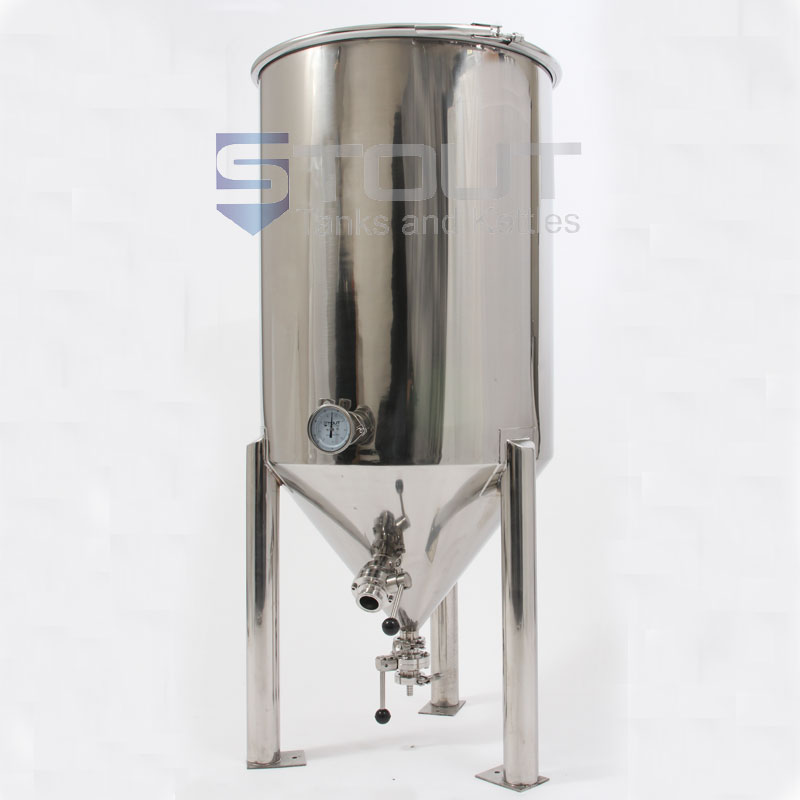 55 Gallon Conical Fermenter With Thermowell Thermometer