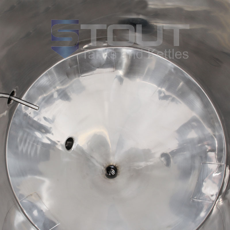 55 Gallon Conical Fermenter with legs and a built in cooling coil - inside view