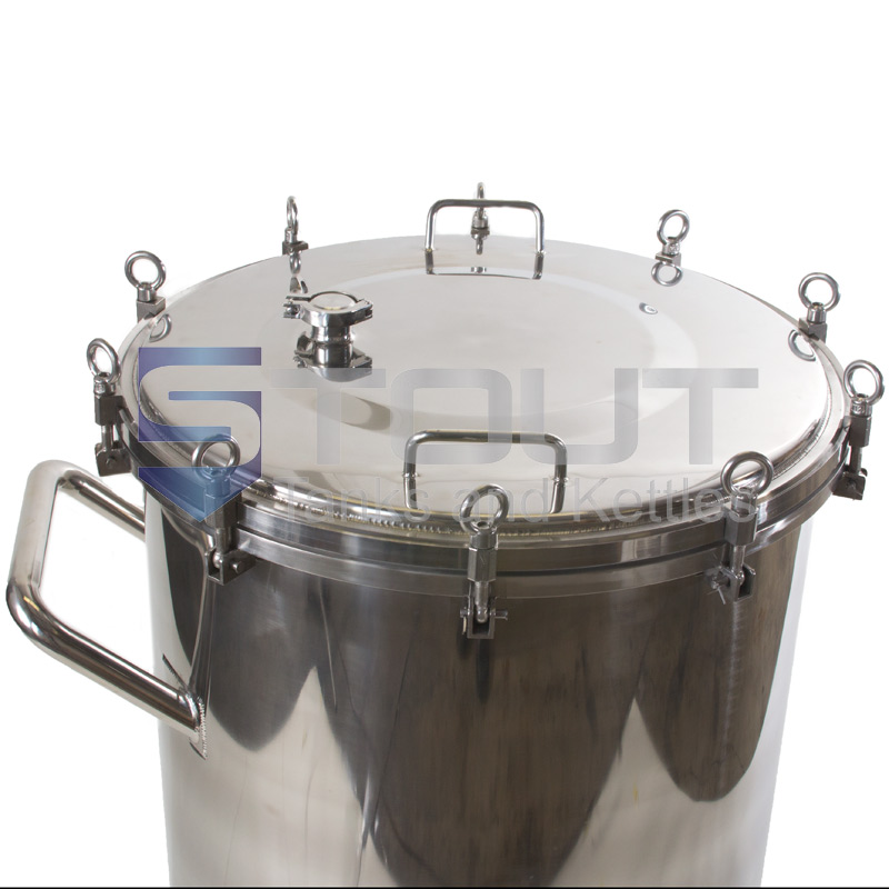 100 gallon stainless steel hop back with wheels from Stout Tanks