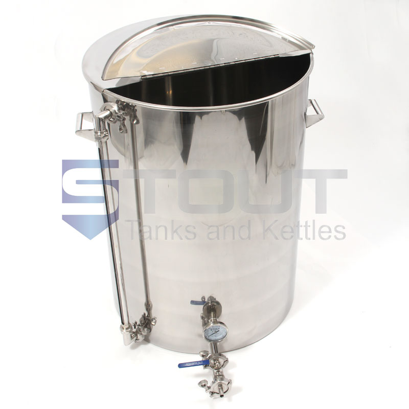 75 Gallon Hot Liquor Tank With Thermowell Thermometer And