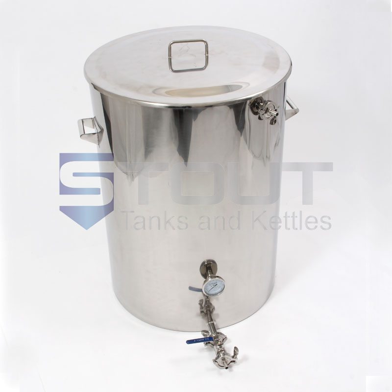 Front view of a Stout Tanks 75 Gallon Mash Tun that features a Thermowell, Thermometer and Recirculating Fitting