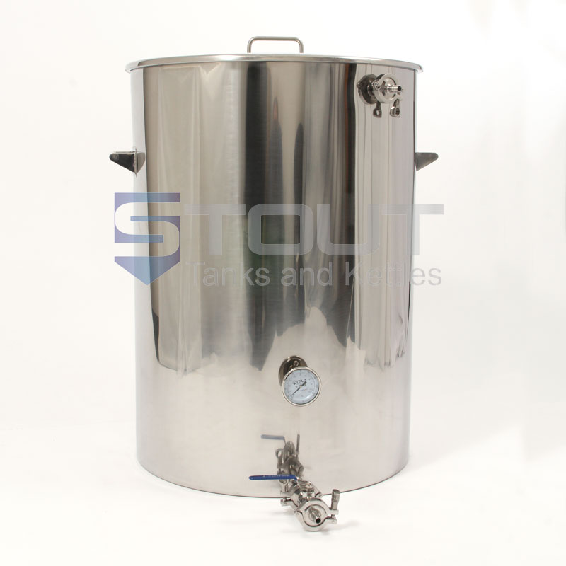 Pilot system sized 75 Gallon Mash Tun that features a Thermowell, Thermometer and a Recirculating Fitting