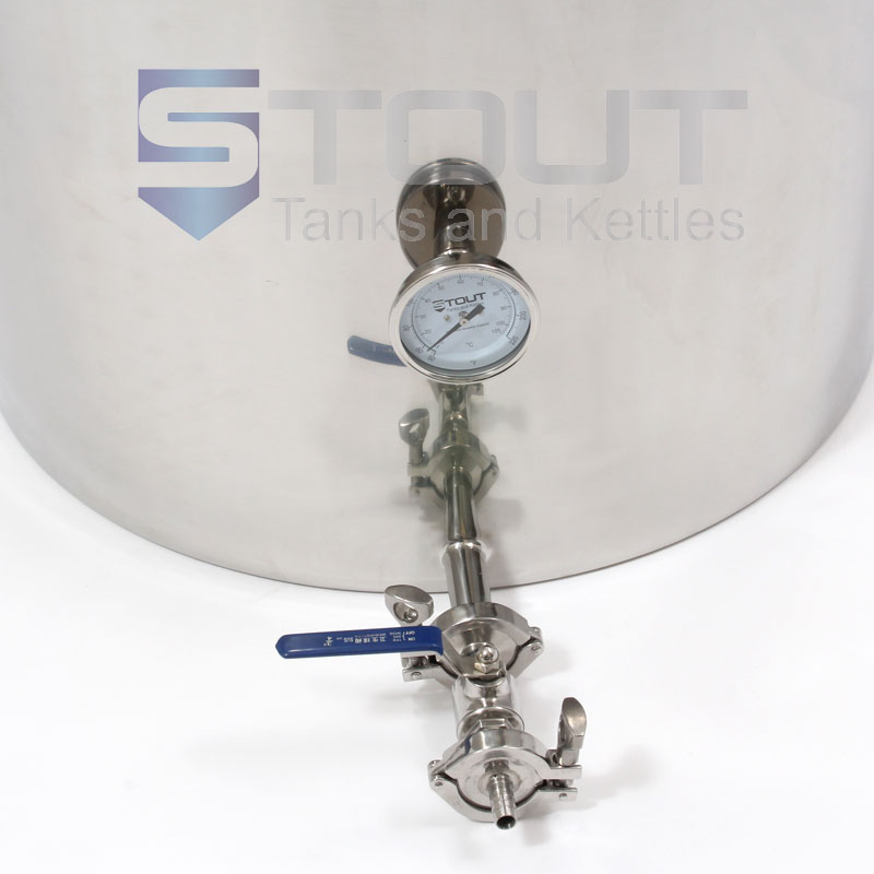 View of a 75 Gallon Mash Tun that contains a Thermowell, Thermometer and a Recirculating Fitting