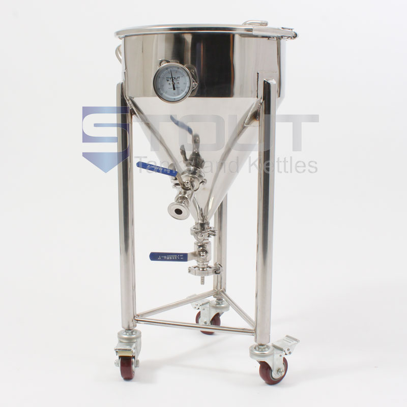 7.3 Gallon Short-Style Conical Fermenter with Thermowell, Thermometer and Wheels