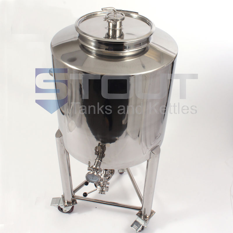 80 Gallon Conical Fermenter with Thermowell, Butterfly Valves and Wheels
