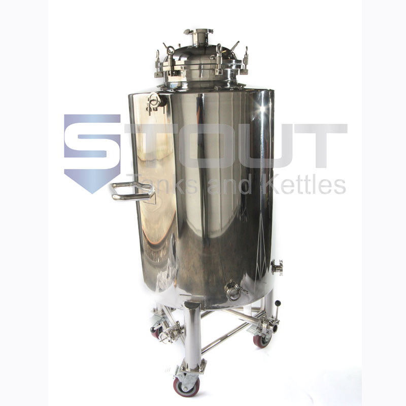 4 bbl brite beer tank on wheels - front view