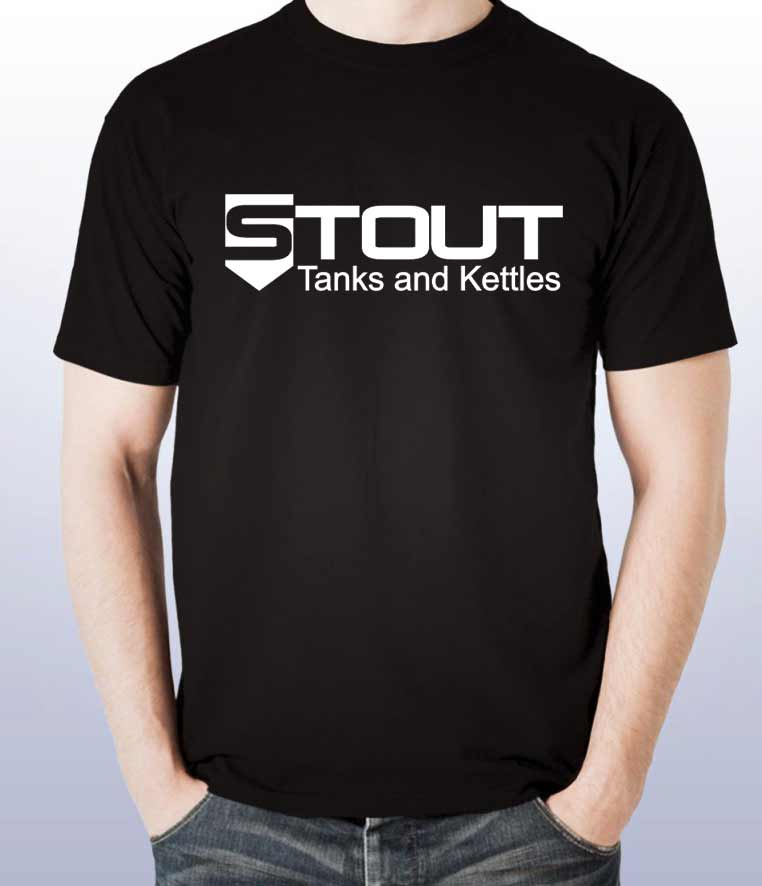 STout Tanks tshirt for sale, black with white logo on front