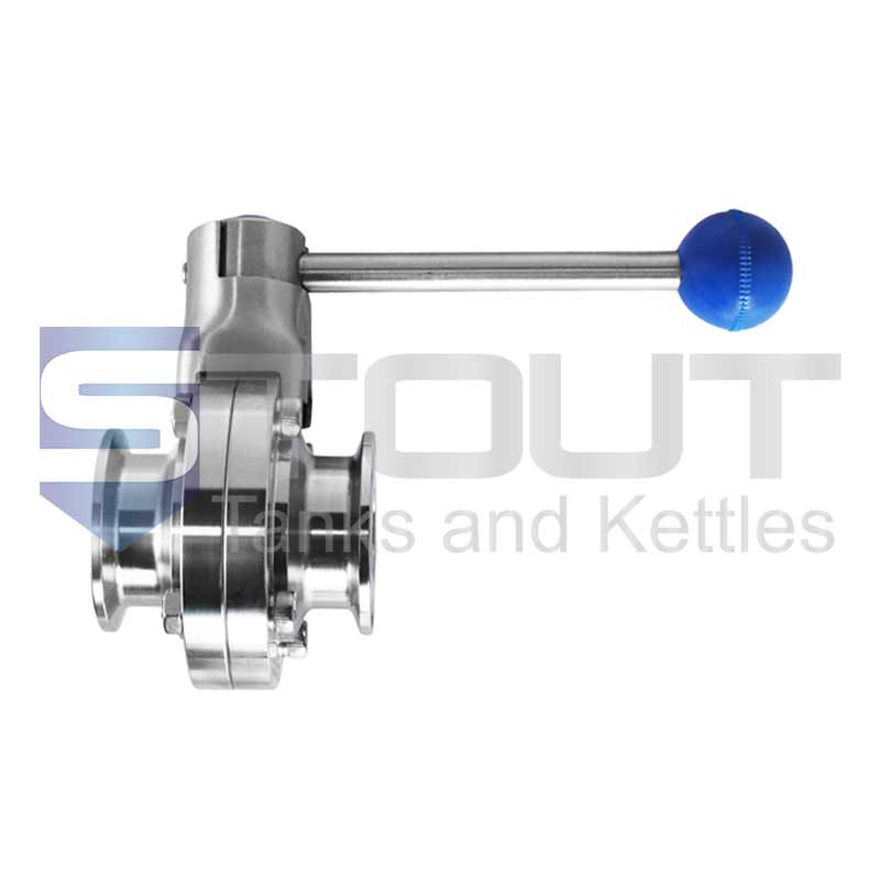 """Butterfly Valve (1.5"""" TC, Pull Handle, Silicone, 304SS)"""