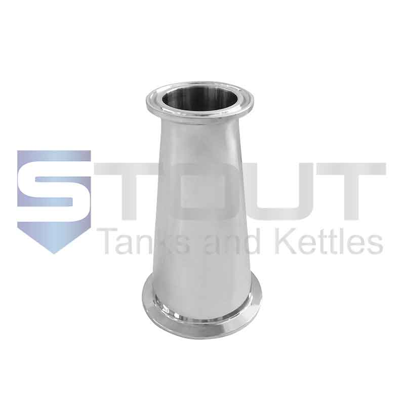 """Concentric Reducer (2.5"""" Tri Clamp x 1.5"""", 304SS)"""