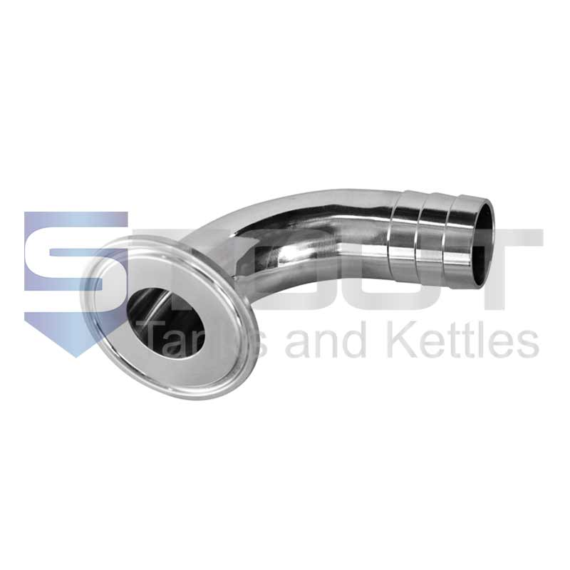 """1.5"""" x 0.5"""" Hose Barb Adapter (90 Degree Elbow, 304SS)"""