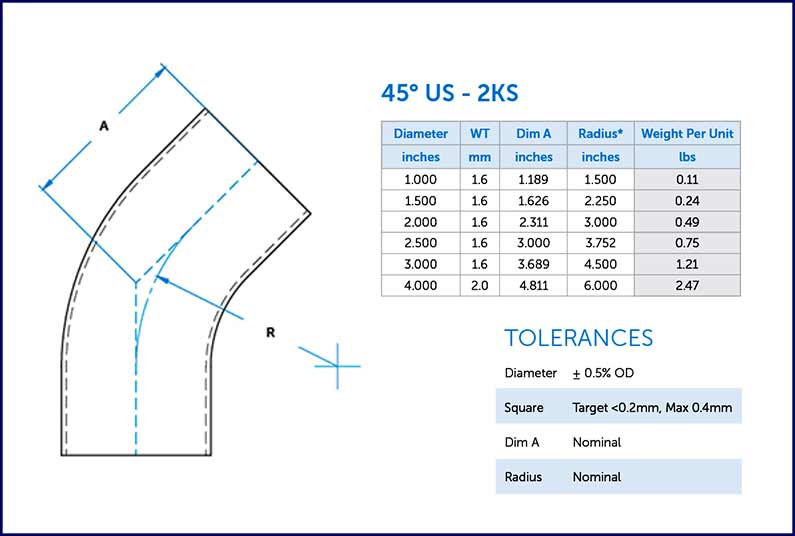 This is a diagram of a 45 degree elbow fitting from Ultibend