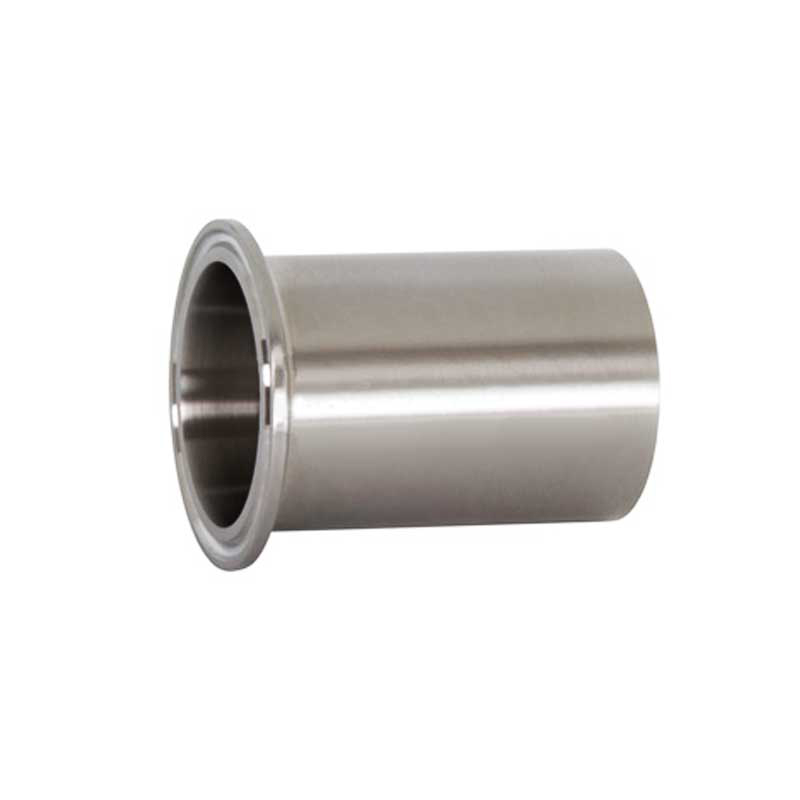 This is a photo of a 2.5 inch tank length butt weld ferrule fitting made of 304 stainless steel