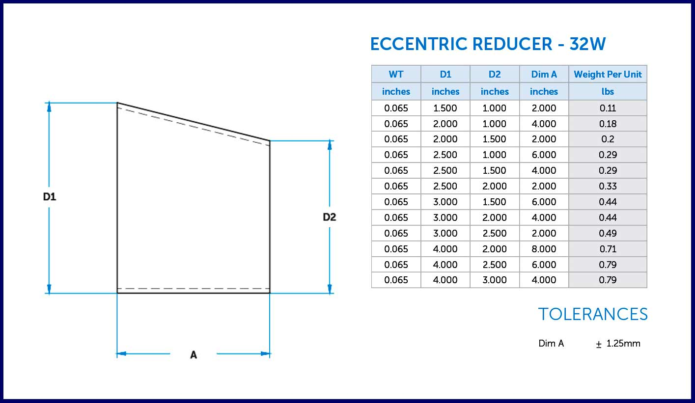 This is a diagram of a eccentric reducer butt weld from Ultibend.