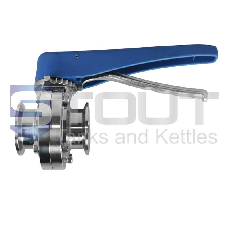 """Butterfly Valve (2.5"""" TC, Trigger Handle, Silicone, 304SS)"""