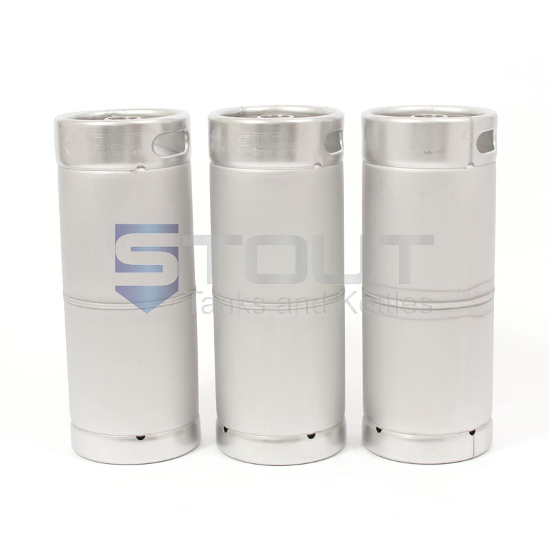 "Three 1/6th Barrel Stainless Steel ""Torpedo"" Kegs"