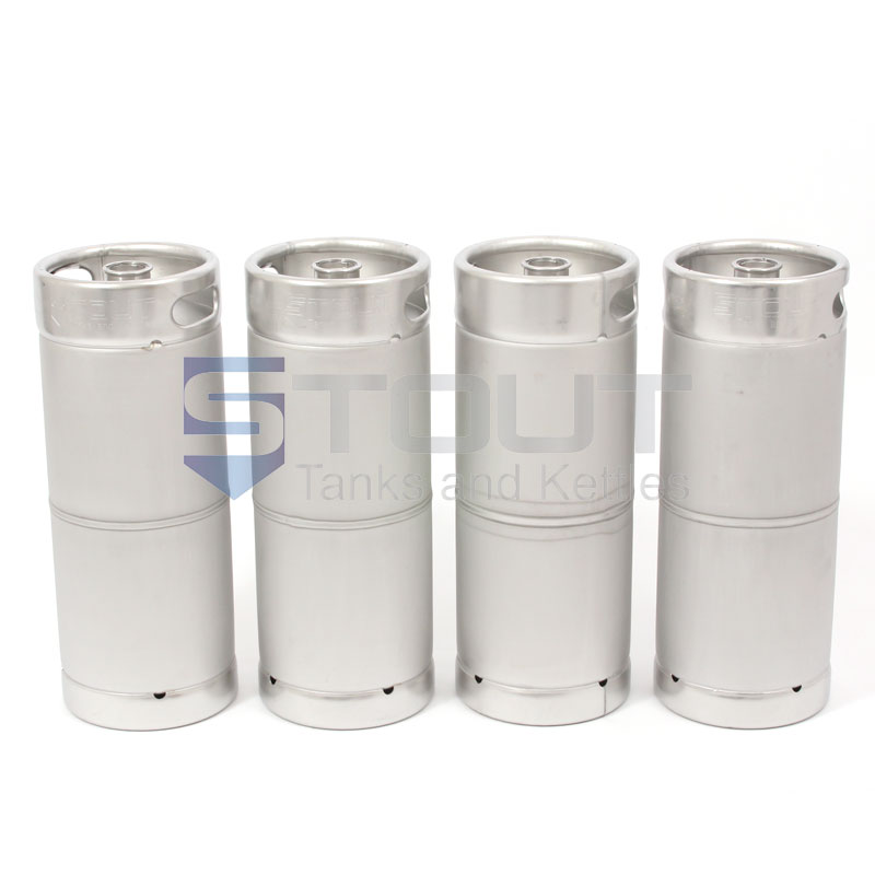 "Four 1/6th Barrel Stainless Steel ""Torpedo"" Kegs"