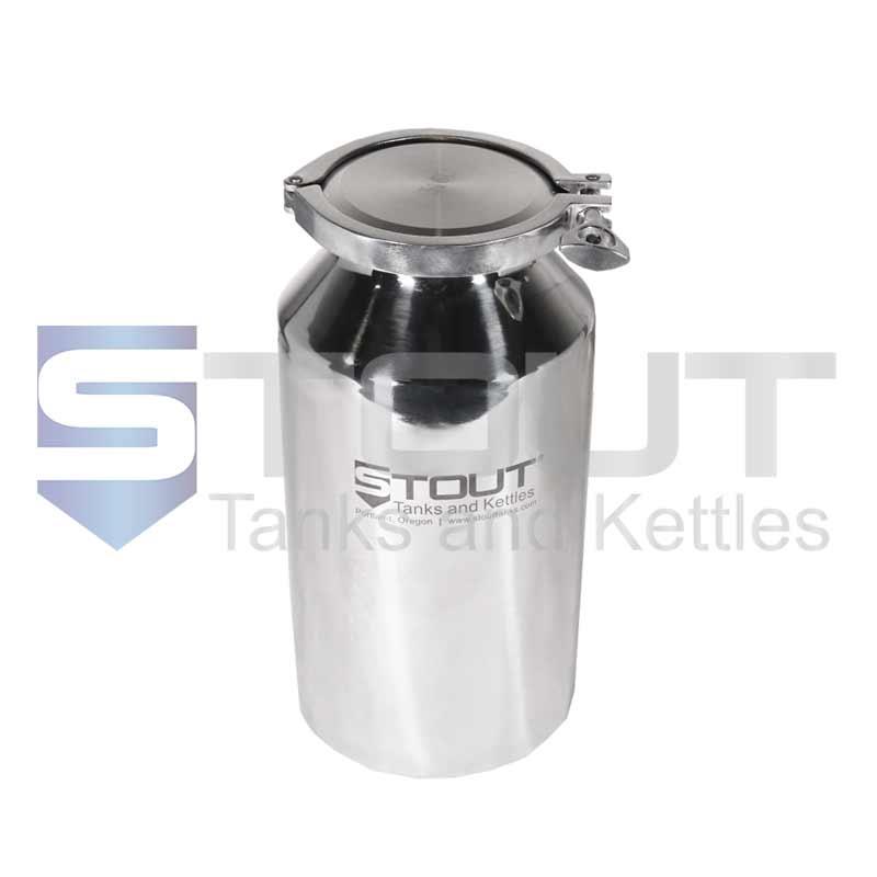5 Liter (1.3 Gal) Pharma Bottle   Tri Clamp Lid (316SS)
