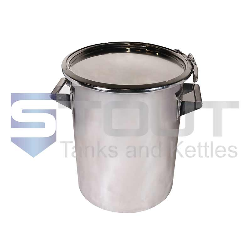 25 Liter (6.6 Gal) Stainless Steel Drum   Ring Clamp Lid (316SS)