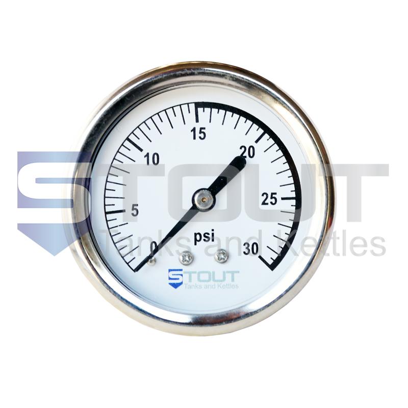 Pressure Gauge (Back Mount, 30 PSI)