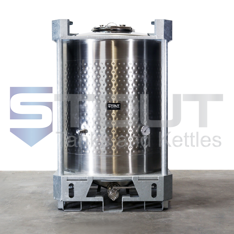 330 Gallon IBC Tote (316SS, Jacketed, Center Outlet)