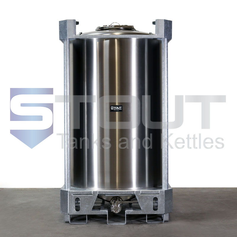 400 Gallon IBC Tote (304SS, Center Outlet)