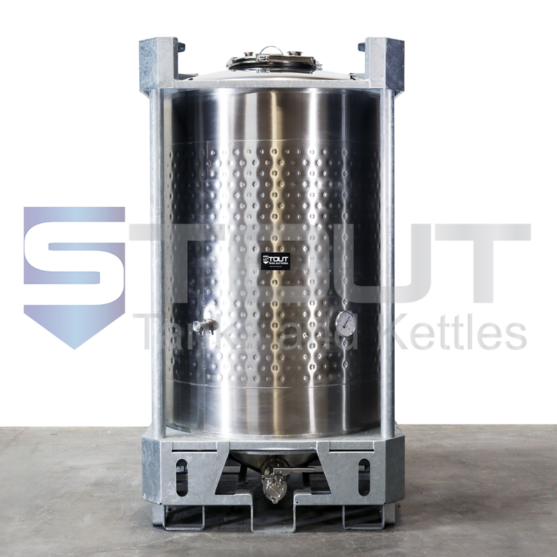 400 Gallon IBC Tote (304SS, Jacketed, Center Outlet)