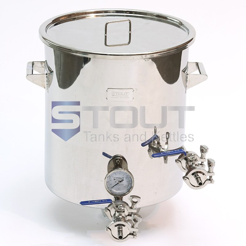 BK15TW-TI-LL-DAM (84) 15 Gallon Brew Kettle with Thermowell, Tangential Inlet, Trub Dam