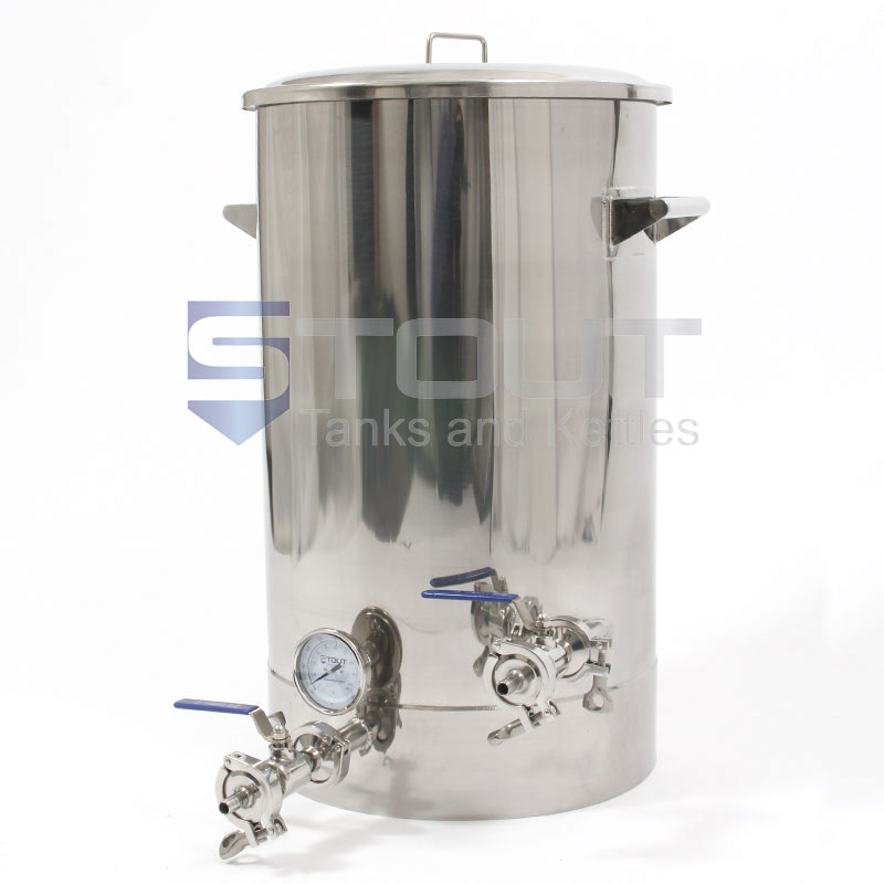 34 Gallon Brew Kettle (with Thermowell/Thermometer, Tangential Inlet, and Laser Level Markings)
