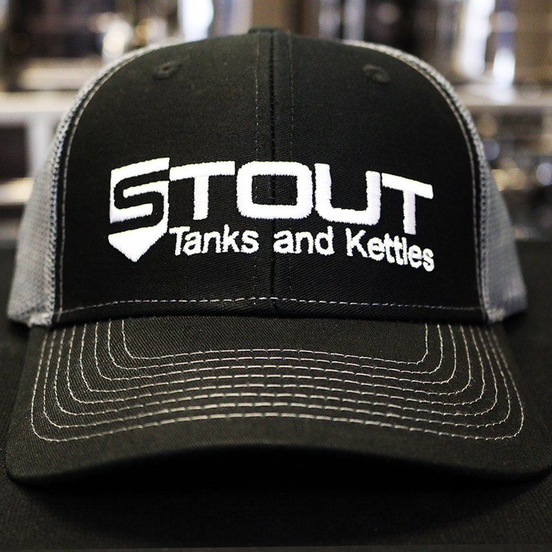 Stout Tanks Trucker Hat - Black with Light Grey Nylon Mesh
