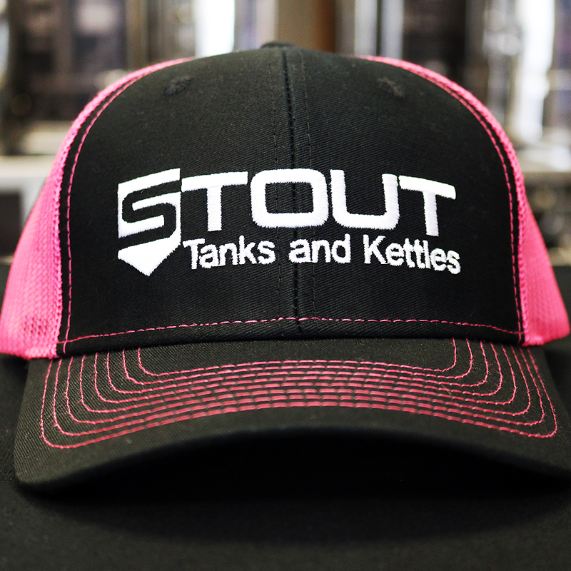 Stout Tanks Trucker Hat - Black with Nylon Pink Mesh