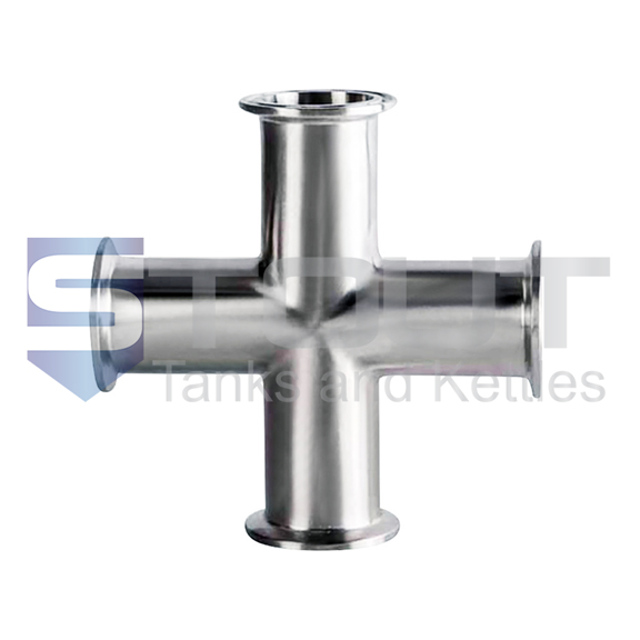 """Cross Fitting   2.5"""" Tri Clamp (304SS)"""