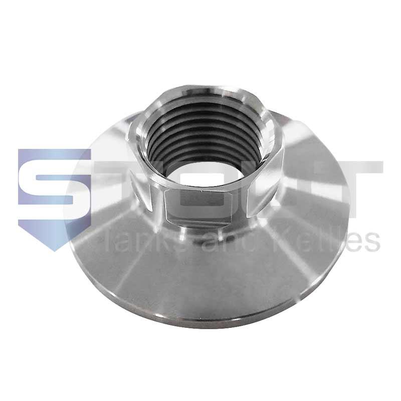 "NPT Adapter Cone | 1.5"" Tri Clamp x  1/2"" FNPT (Female, 304SS)"