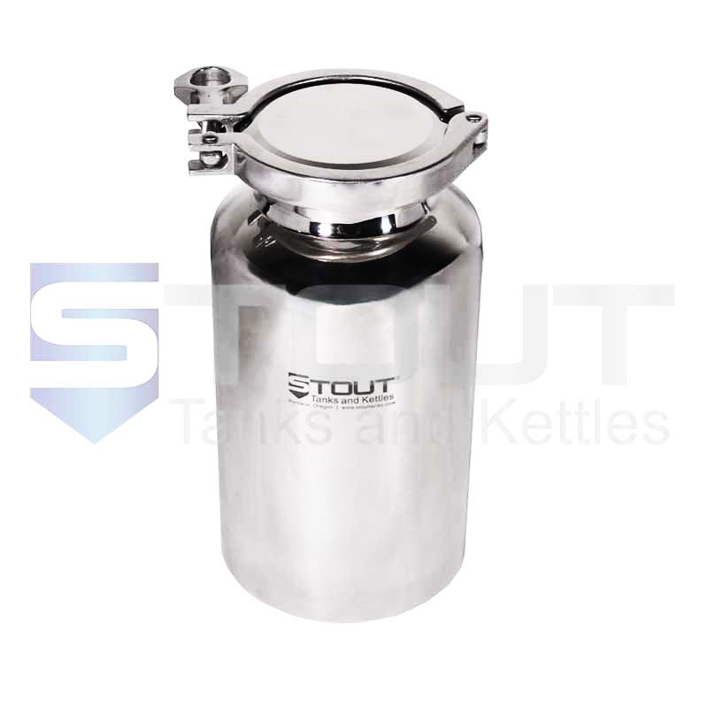 2 Liter (0.5 Gal) Pharma Bottle   Tri Clamp Lid (316SS)