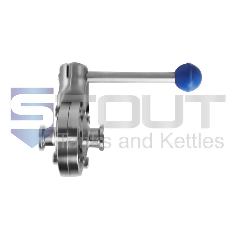 """Butterfly Valve   3/4"""" Tri Clamp, Pull Handle (Silicone, 316SS)"""