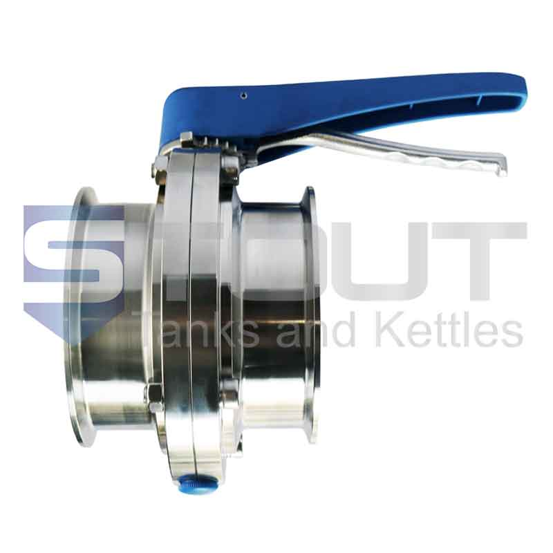 """Butterfly Valve   4"""" Tri Clamp, Trigger Handle (Silicone, 304SS)"""