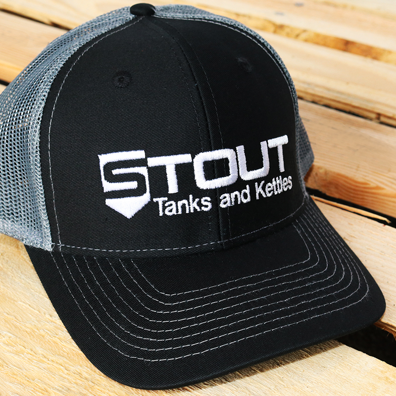 Stout Tanks Trucker Hat - Black with Charcoal Nylon Mesh