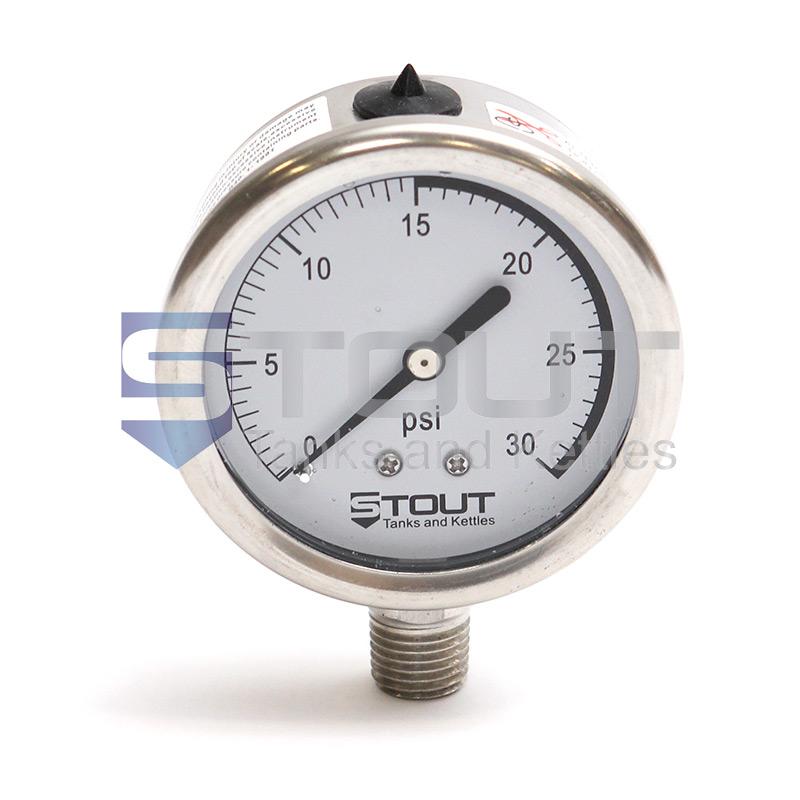 SP30PG-BOTTOM 30 PSI Pressure Gauge (Bottom Mount)